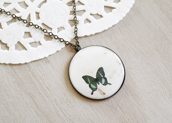 50% SALE - Butterfly Cameo - Vintage Brass Necklace - Green Wings