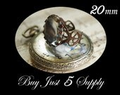 5 QUEEN RING Bezels with Matching GLASS Domes....Beautiful Filigree Antique Vintage Bronze... 20mm