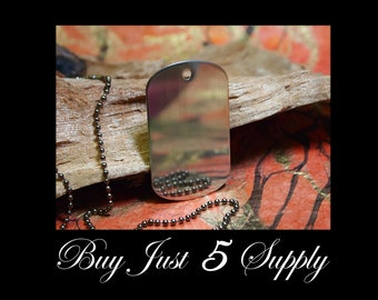 10 Dog Tags with Epoxy Resin Domes DIY Kit ...... Dogtag Pendant Jewelry... Great with Ball Chain and Leather Cord Necklaces...