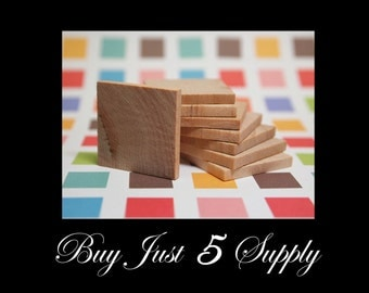 """40  1 1/2"""" Unfinished Wood Squares, Smooth and Ready to Glaze, Paint, Decoupage, Stain, Stamp for Magnets, Art, Jewelry, more..."""