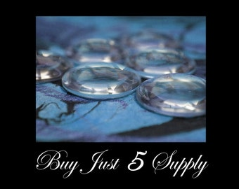 Glass Cabochons - 50 Crystal Clear DOMES... Waiting For Your Creativity...Great for Pendants, Refrigerator Magnets, more