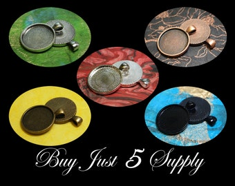 Make A Combo - 25  Circular 1 Inch Round PENDANT TRAYS - 5 Colors - Jewelry, Pendant, Mosaics, Glass, Beads, Photo, Digital Collage Art