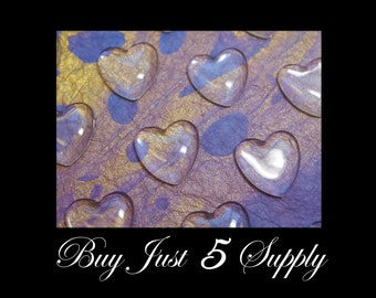 SALE Just 5 Bucks!  50 Crystal Clear HEART DOME Glass Tiles.. Great for Photos, Jewelry, Pendants, Magnets, Embellishments..