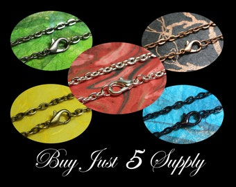 """25 Rolo Link Chains- 24"""" with Lobster Clasp- 5 Colors to Choose From- Scrabble Tiles, Glass Tiles, Fused Glass, Bottle Cap Pendants, More"""