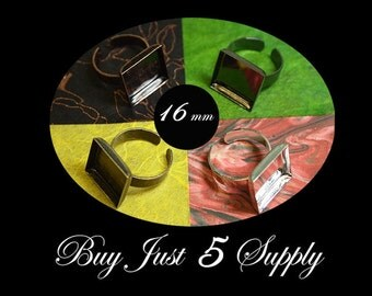 10 Square RING BASES- 4 Colors to Choose from.. Mosaics, Glass, Beads, Digital Collage Images, Photos, or your favorite work of art...