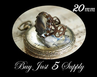 10 QUEEN RING Bezels with Matching GLASS Domes....Beautiful Filigree Antique Vintage Bronze... 20mm