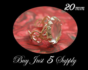 10 QUEEN RING Bezels with Matching GLASS Domes....Beautiful Filigree Silver Plated Rings... 20mm