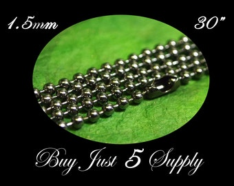 10 Petite Ball Chains- 30 Inches in Length - Gunmetal - 1.5mm... Great for Pendants -Scrabble Tiles- Fused Glass- Bottle Caps