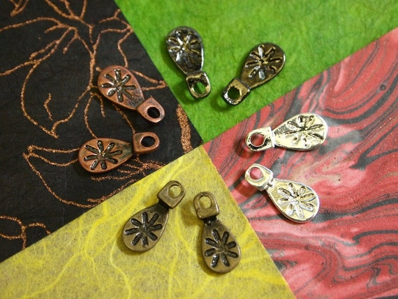 Earring Bails COMBO - 4 Colors.. 100 pieces... Makes 50 Pairs of Earrings - Silver Plated, Antiqued Bronze, Vintage Copper, Gunmetal