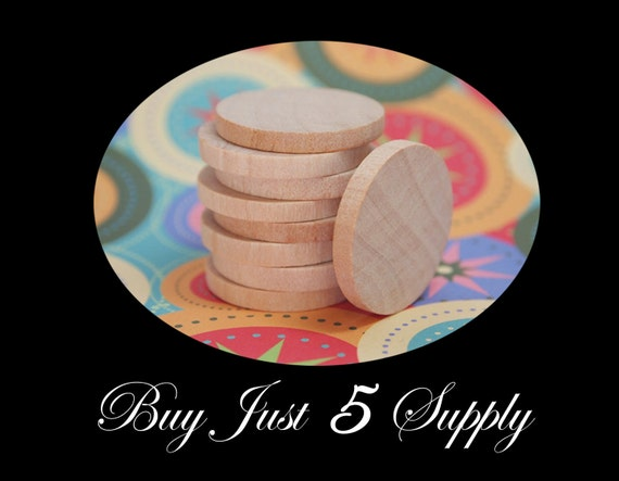 50 Unfinished Wood Circle CUTOUTS..Discs, Smooth and Ready to Glaze, Paint, Decoupage, Stain, Stamp for Magnets, Art, Jewelry, more...