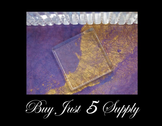 30 SMOOTH Crystal Clear GLASS TILES.....1 Inch Square...Great for Pendants, Magnets, Jewelry, Digital Art, more