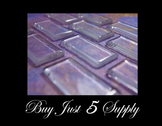 10 Crystal Clear RECTANGLE Glass Cabochons... Waiting For Your Creativity...Great for Pendants, Refrigerator Magnets, more