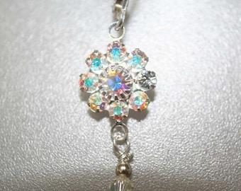 Crystal AB Swarovski flower earrings - leverbacks