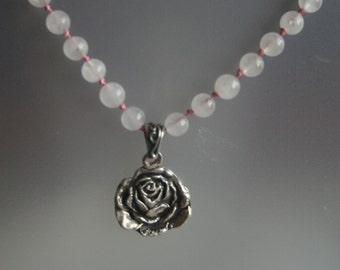 Rose quartz and fine silver rose necklace