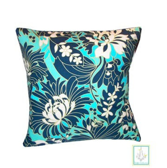 New 18 x 18 Handmade Designer Pillow Case in Amy Butler Navy Wildflowers