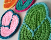Reserved for Naturebella - Tropical Flip Flop Coasters - Crocheted - Set of 6