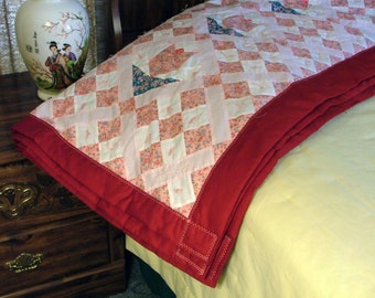 Quilt - Pink and Red Tulips (77.5in x 89in)