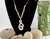 Natural Waxed Cotton Spiral And Natural Bone Necklace, Adjustable to 24 Inches