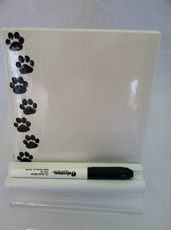 Dry Erase Message Board Ceramic Tile Paw Prints With Wooden
