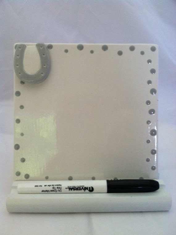 Dry Erase Message Board Ceramic Tile - Horseshoe - With Wooden Stand and Marker