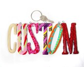 Custom keychain fob-   handpainted monogrammed- custom made for you