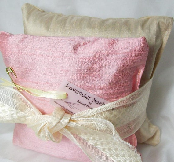 Silk lavender sachets in pink and cream, set of 2 large sachets