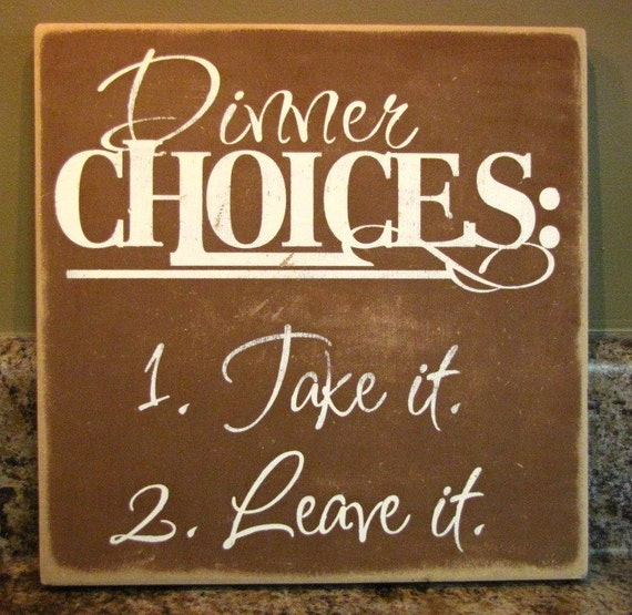 Word Art Home Decor: Dinner Choices Fun Word Art Home Decor Sign Brown Hand