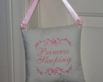 "Door Hanger Pillow, Heirloom  Embroidered Shabby  Chic  ""Princess Sleeping """