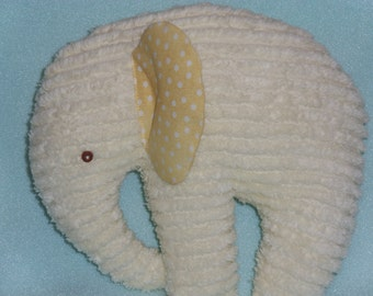 Stuffed Chenille Elephant  NEW Color of Chenille, Light Yellow
