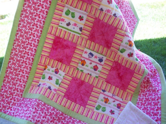 Stroller Blanket, Bright Pink and Lime Green Flannel