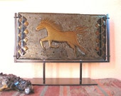 Fused Glass Panel - Bronze Horse in Fused Glass with Handmade Metal Display Stand
