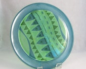 Fused Glass Platter - The  Road Not Taken - Fused Glass Platter in Greens and Blues
