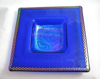 Fused Glass Dish - Dichroic Rainbow of Hearts on Cobalt Blue