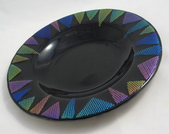 Fused Glass Serving Dish - Polkadot and Triangles in Dichroic Glass on Black
