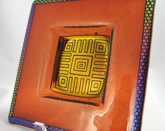 Dichroic Fused Glass Bowl - Terra Cotta and Burnt Orange with Polka Dots