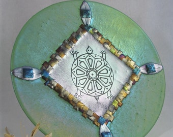Hand Etched Turtle - Fused Glass Platter