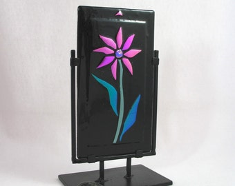 Fused Glass Sculpture - Neon Pink Daisy Pops Against Black in This Fused Glass Panel