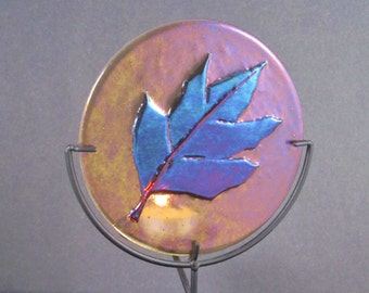 Fused Glass Candle Dish - Bronzed Autumn Leaf