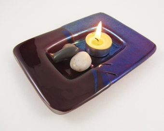Fused Glass Dish - Deep Plum and Iridized Blue - Green