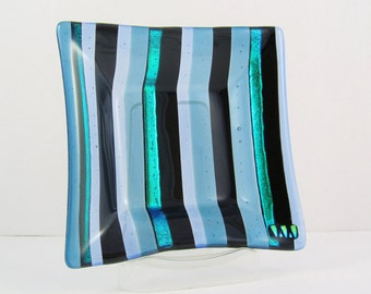 Fused Glass Dish - Black and Blue and Dichroic Stripes