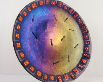 Fused Glass Plate - Lavender and Midnight Blue Iridized with Black Cherry Dichroic Accents