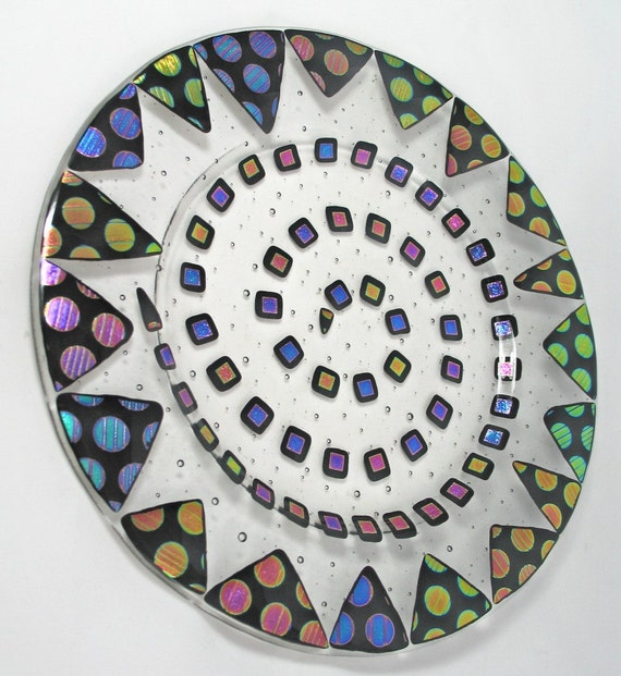 Fused Glass Plate - Colorful Dichroic Dots and Squares  on Clear