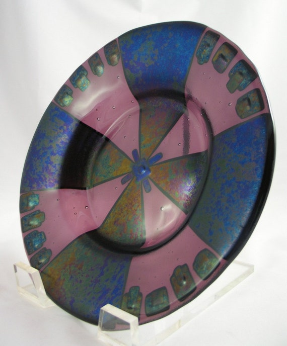 Mottled Purple, Blue and Copper Iridized Glass on Deep Plum Fused Glass Bowl
