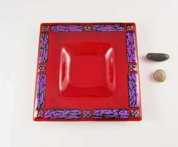 Fused Glass Candle Dish - Ruby Red with Leopard Print and Hearts - Dichroic Accents