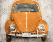Orange Bug (or CHOOSE your color) - Vintage Style Photo Print - Volkswagen Beetle Nostalgic Car Distressed Home Decor Personalize