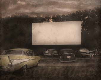 The Old Drive In - Vintage Style Original Photograph - Nostalgic Date Night Antique Cars Distressed Home Decor Wall Art
