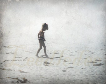 In Solitude - Old Polaroid Style Vintage Look Original Photograph - Little Girl Walking on the Beach
