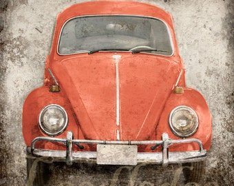 Coral Peach VW Bug - Original Photograph - Any Color - Volkswagen Beetle