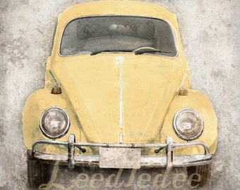 Yellow Bug (or ANY COLOR) - Vintage Style Original Photograph - Volkswagen Beetle Antique Car Fun Retro Wall Decor