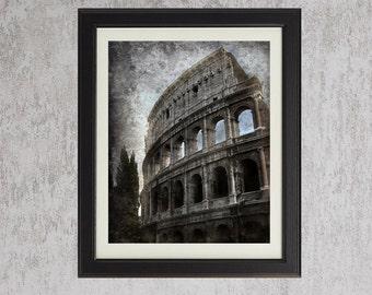 The Colosseum - Vintage Style Textured Original Photograph - Slate Blue Grey Architecture Ancient Rome Home Decor